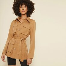 Collared Flap Pocket Patched Self Belted Coat
