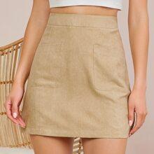 Zipper Back Patch Pocket Solid Skirt
