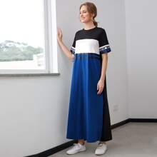 Vestido de color combinado con estampado de slogan