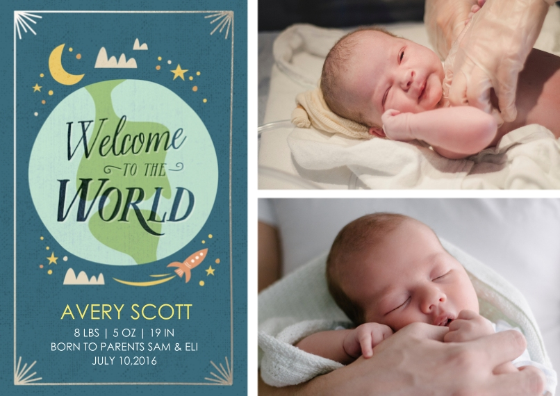 Newborn 5x7 Cards, Premium Cardstock 120lb with Elegant Corners, Card & Stationery -Welcome to The World Blue