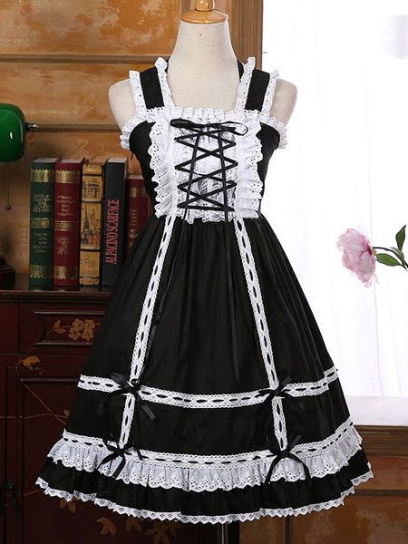 Milanoo Sweet Lolita JSK Jumper Skirt Lace Trim Ruffles Frills Two Tone Pleated Pink Lolita Dresses