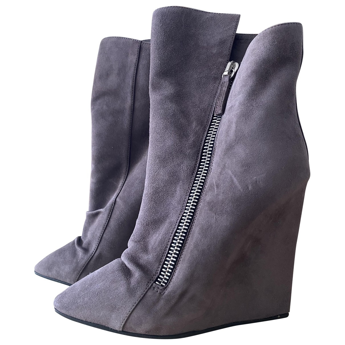 Giuseppe Zanotti \N Grey Suede Ankle boots for Women 38.5 EU