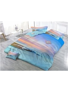 Seashore Sunset in the Mist Wear-resistant Breathable High Quality 60s Cotton 4-Piece 3D Bedding Sets