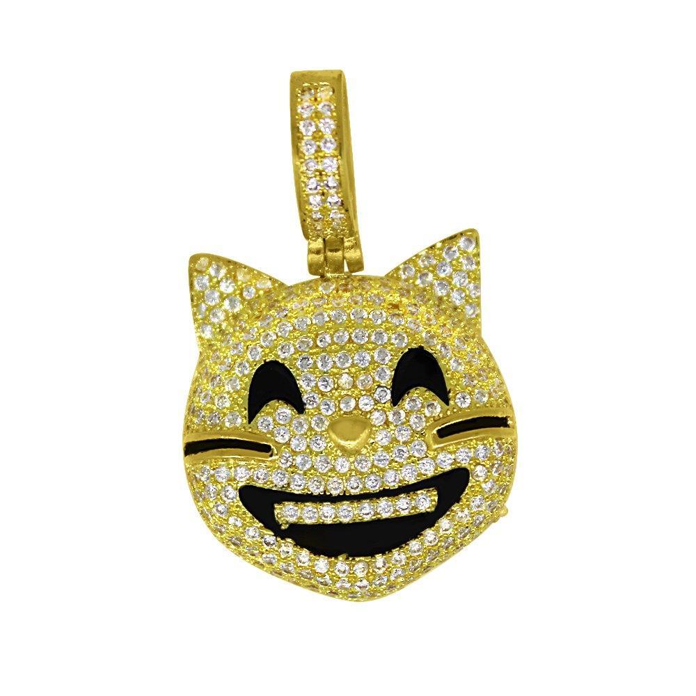 Emoji Cat Gold Bling Bling Pendant