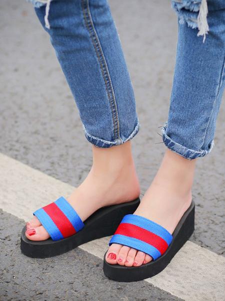 Milanoo Sandal Slippers Blue Elastic Fabric Round Toe Slip-On Beach Sandal Slipper