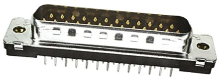TE Connectivity Amplimite HD-20 Series, 25 Way PCB D-sub Connector Plug, 2.77mm Pitch, with 4-40 UNC, Threaded Insert