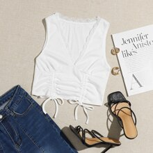 Lace Trim Ruched Bust Drawstring Knot Front Crop Tank Top