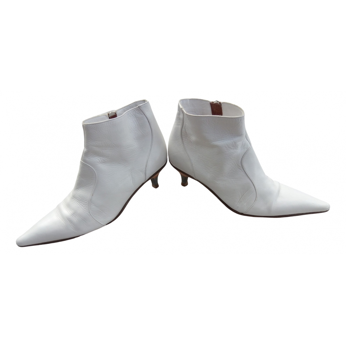 Dries Van Noten N White Leather Ankle boots for Women 36 EU