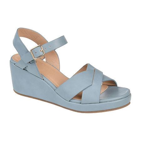 Journee Collection Womens Kirstie Pumps Wedge Heel, 7 1/2 Medium, Blue