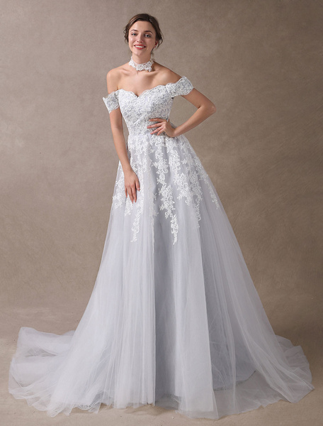 Milanoo Colored Wedding Dresses Off Shoulder Bridal Dress Choker Lace Applique Tulle Light Grey Wedding Gowns With Train