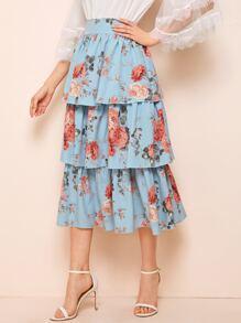 Floral Print Layered Ruffle Skirt