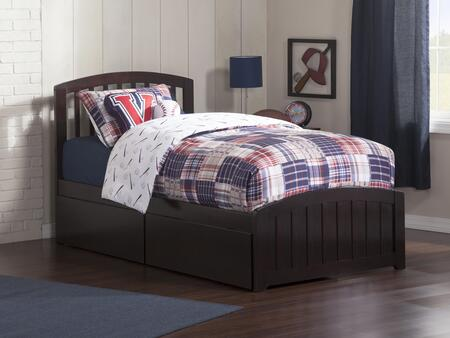 Richmond Collection AR8826111 Twin Size Platform Bed with 2 Urban Bed Drawers  Matching Footboard  Hardwood Slat Kit and Eco-Friendly Solid Hardwood