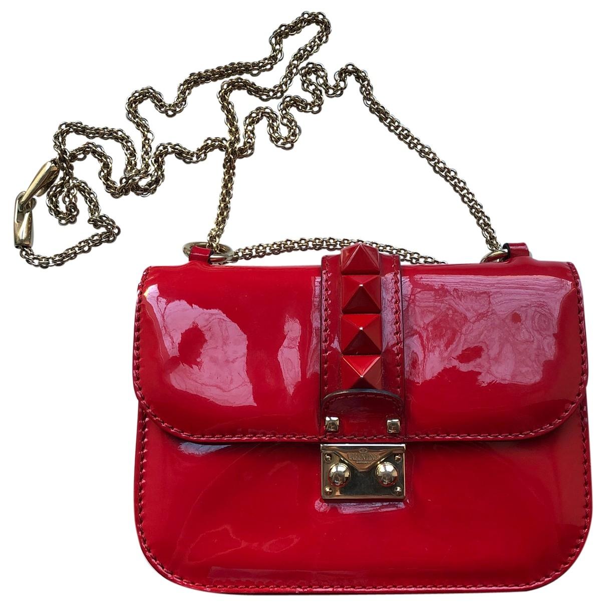 Valentino Garavani - Sac a main Glam Lock pour femme en cuir verni - rouge