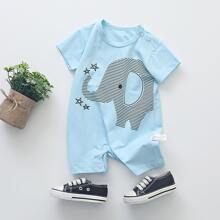 Baby Boy Elephant And Star Graphic Tee Romper