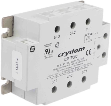 Sensata / Crydom 50 A rms Solid State Relay, Zero Cross, Panel Mount, SCR, 530 V rms Maximum Load