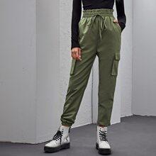 Hose mit Papiertasche um die Taille, Knoten vorn und Taschen Klappe
