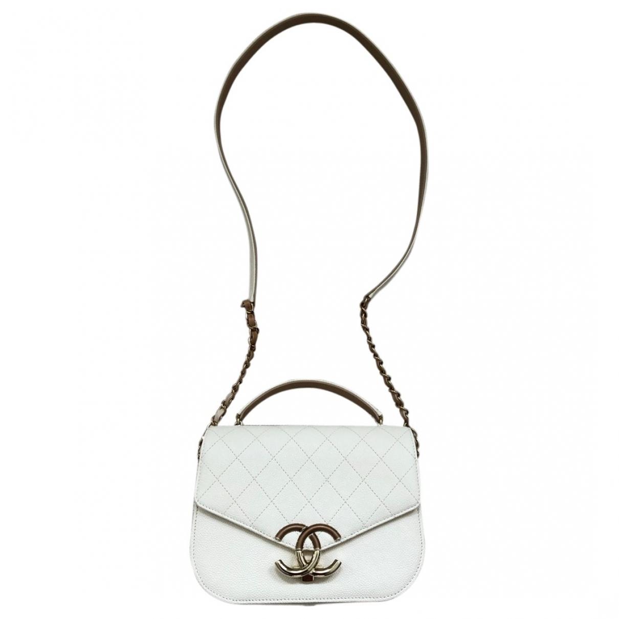 Chanel - Sac a main   pour femme en cuir - ecru