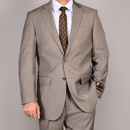 Side Vented Jacket and Flat Front Pants Taupe Striped 2Button Suit