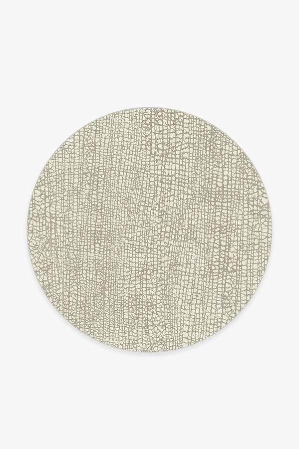 Washable Rug Cover & Pad | Crackle Light Grey Rug | Stain-Resistant | Ruggable | 6' Round
