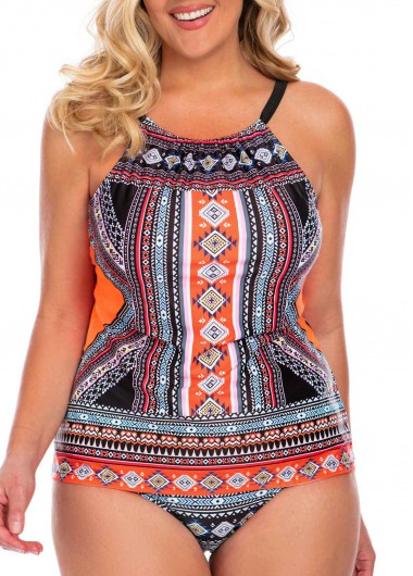 Women'S Multi Color Tribal Printed Plus Size Open Back Tankini Swimsuit Two Piece Padded Wire Free Halter Neck Bathing Suit And Panty By - 3X