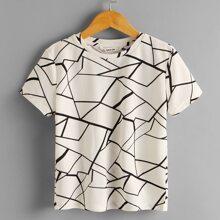 Beige Geometrisches Muster Laessig Jungen Tops