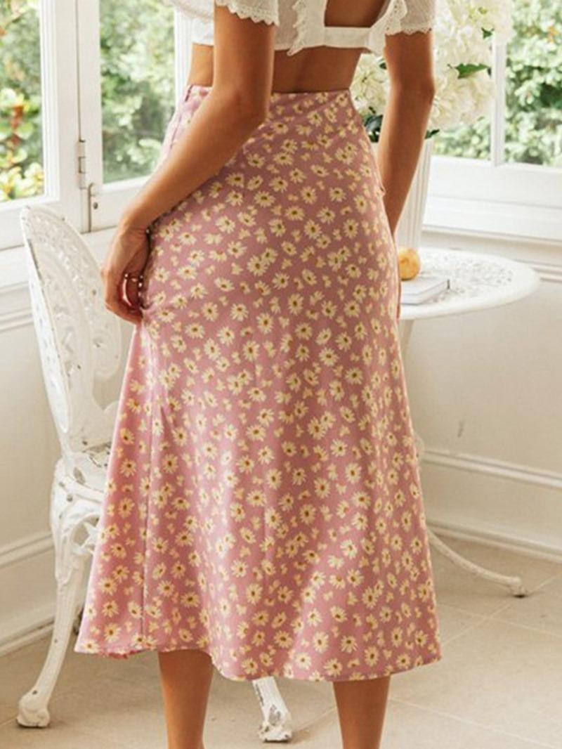 Ericdress Floral Print Mid-Calf Western Skirt