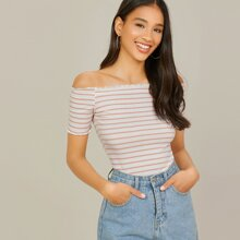 Off Shoulder Lettuce Trim Striped Top