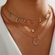 Halskette mit Mond & Stern Anhaenger