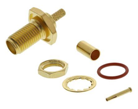 Telegartner Straight 50Ω Panel MountBulkhead Fitting Coaxial Connector, jack, Gold, Crimp Termination, RG174/U, RG188