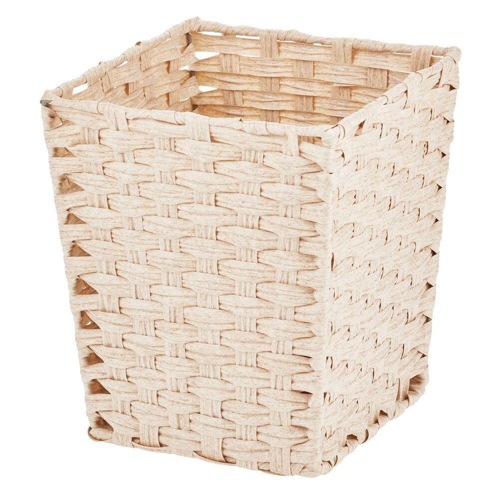 Woven Wastebasket for Home Office in Cream, 10