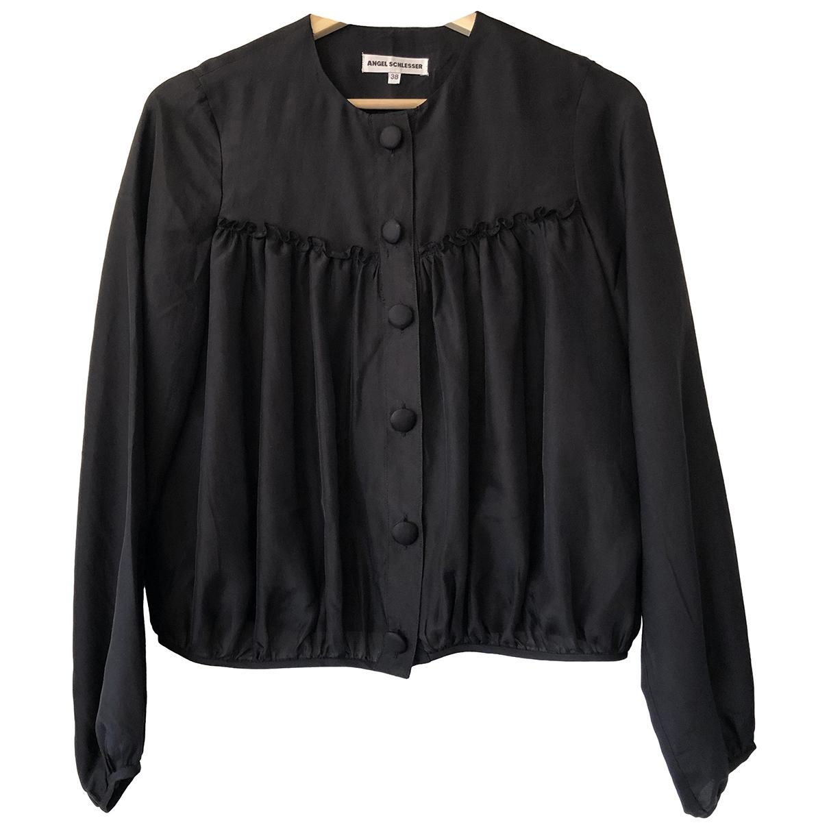 Angel Schlesser - Top   pour femme en soie - noir