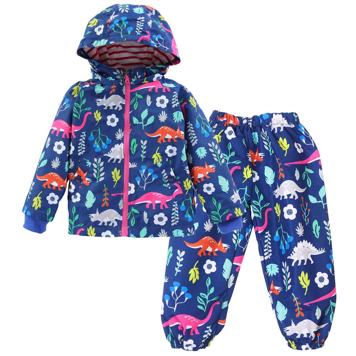 Dinosaur Print Kids Rain Coat+Pants Waterproof Hooded Jacket Children Raincoat Trench Coat