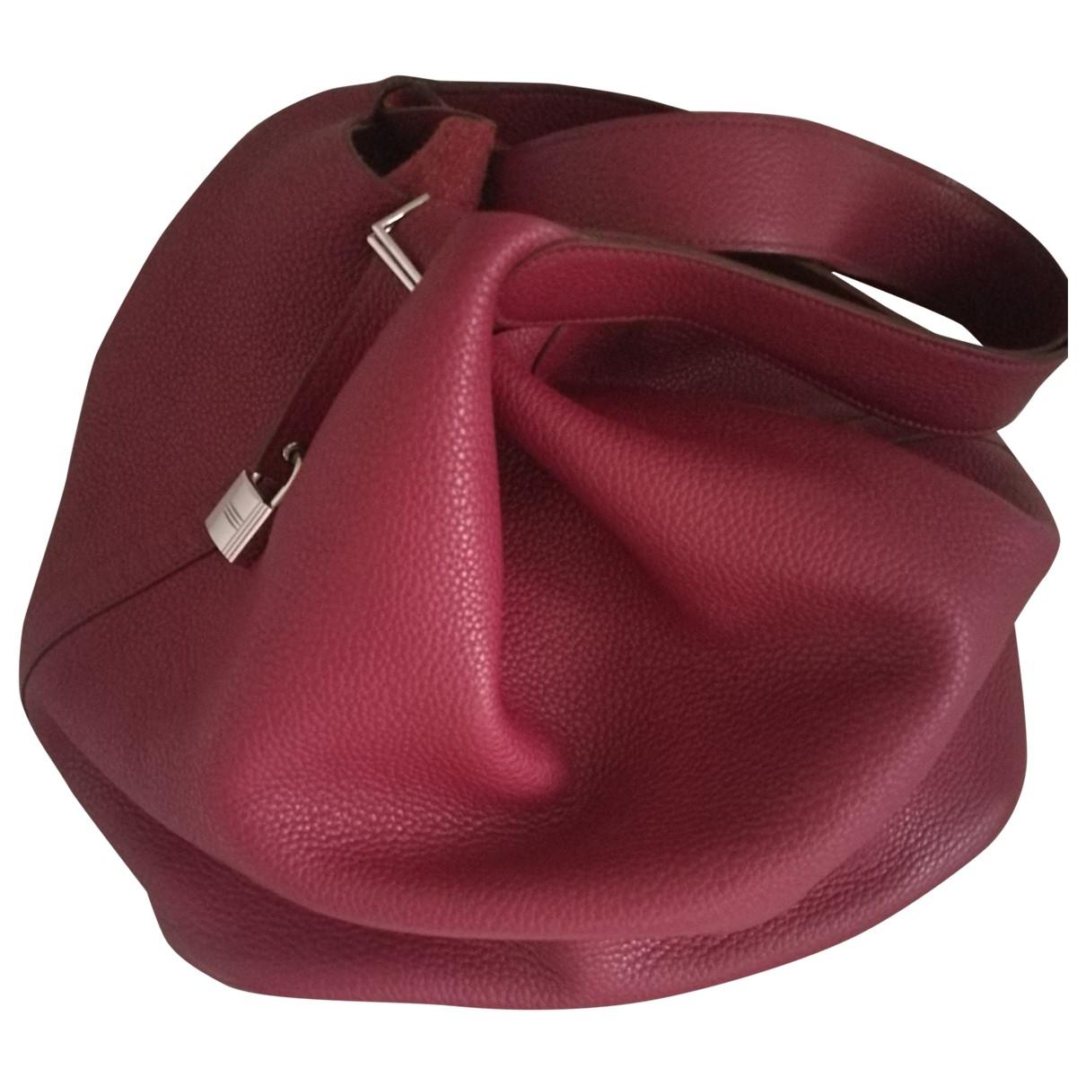 Hermes Picotin Handtasche in  Bordeauxrot Leder
