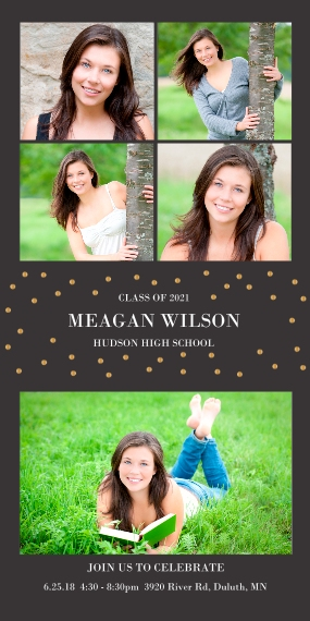 Graduation Invitations Flat Glossy Photo Paper Cards with Envelopes, 4x8, Card & Stationery -Dots Frame