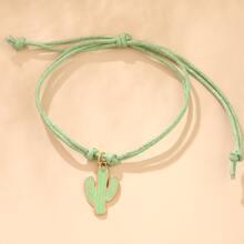 Maedchen Armband mit Kaktus Anhaenger und Schnur