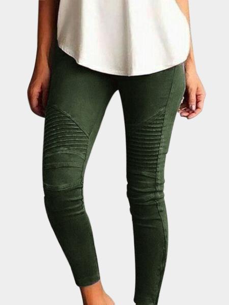 Yoins Forestgreen Elasticity Bodycon High-waisted Pants
