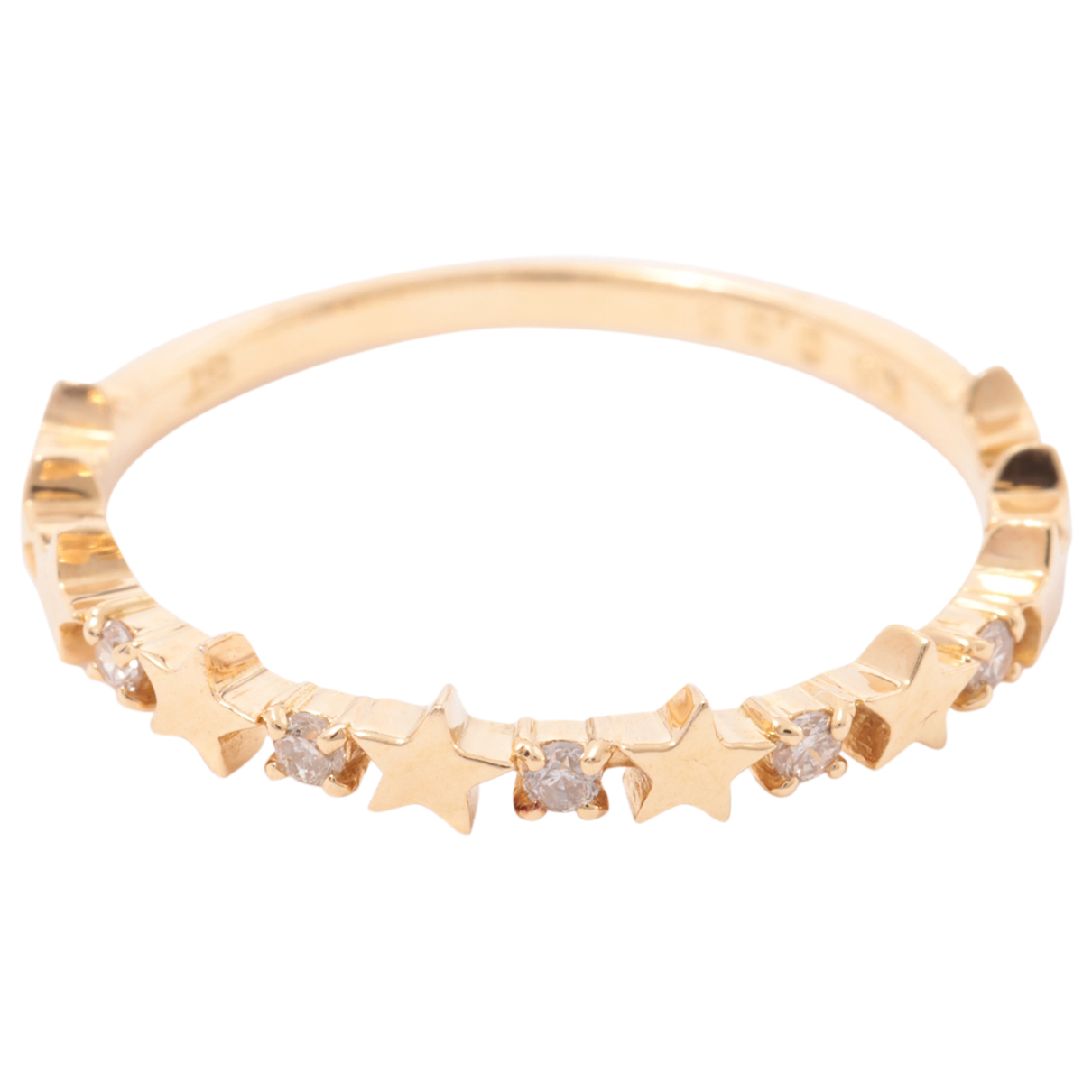 Non Signe / Unsigned Motifs Etoiles Ring in  Gold Gelbgold