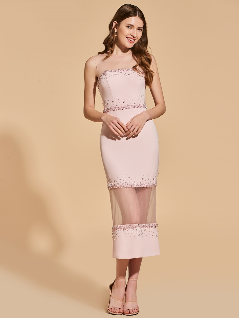 Ericdress Sheath Short Bodycon Homecoming Dress With Beadings