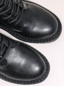 Glitter Detail Lace-up Combat Boots