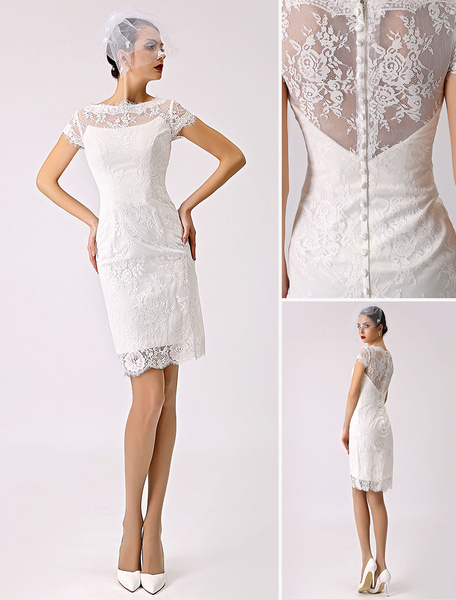 Milanoo Short Simple Wedding Dresses 2020 Lace Illusion Short Sleeve Sheath Column Reception Dress for Bride