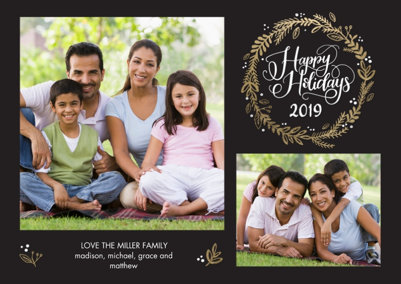 Holiday Photo Cards 5x7 Cards, Premium Cardstock 120lb with Scalloped Corners, Card & Stationery -2019 Holiday Rustic by Tumbalina