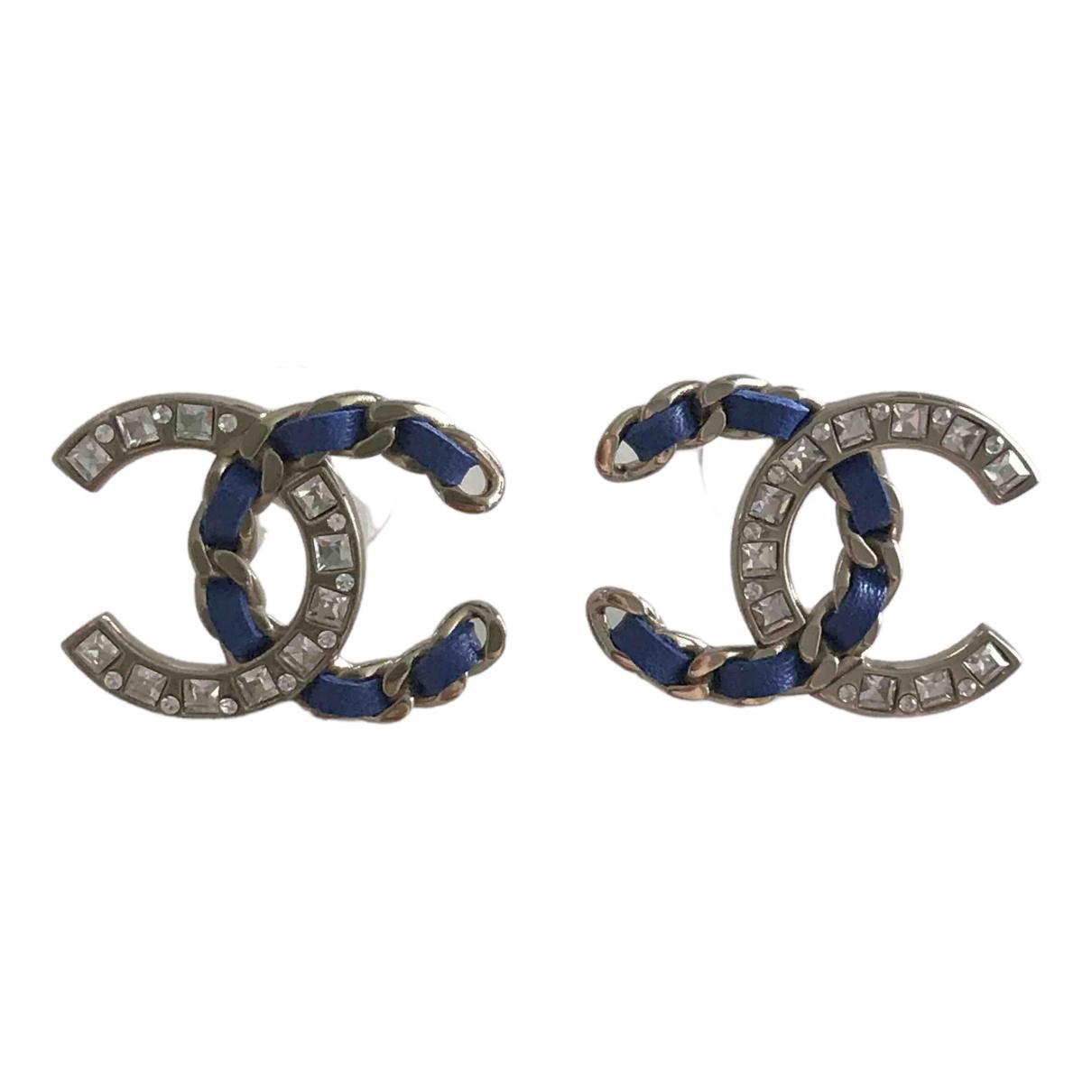 Chanel - Boucles doreilles CC pour femme en metal - bleu
