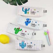 1pc Cactus Print Pencil Case