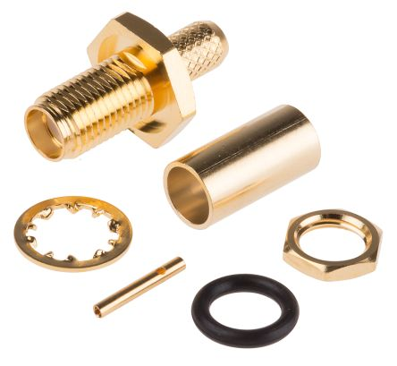 RS PRO Straight 50Ω Bulkhead Mount Coaxial Connector, jack, Gold, Crimp Termination, RG58A