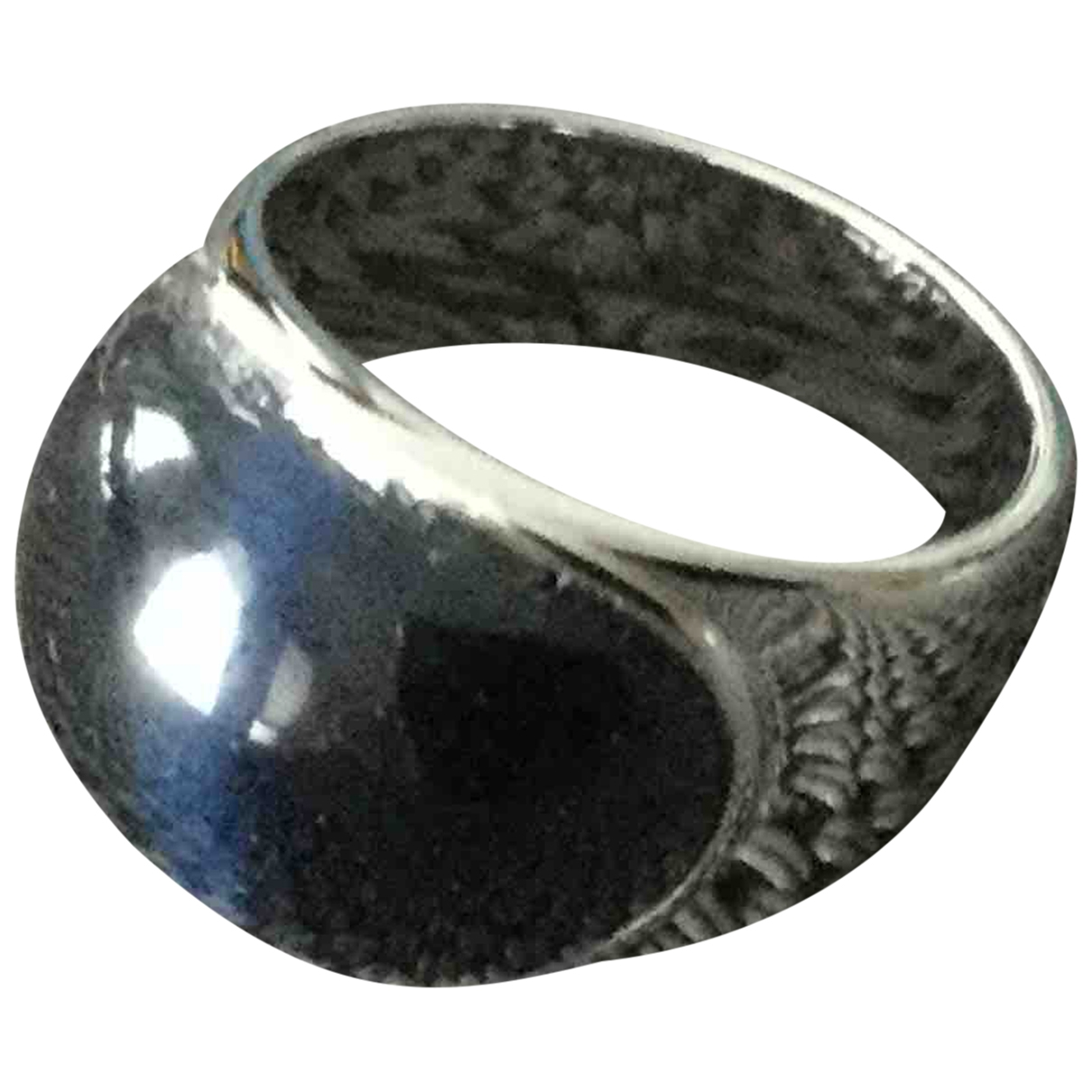 Non Signe / Unsigned Chevalieres Ring in  Blau Stahl