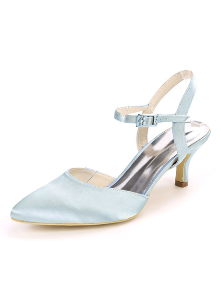 Milanoo Wedding Shoes Evening Shoes Satin Pointed Toe Kitten Heel Bridal Shoes