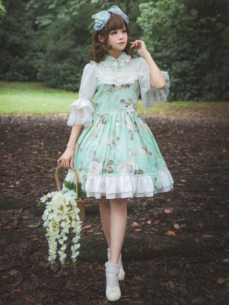 Milanoo Classic Lolita OP Dress Flower Melody Bow Ruffle Pleated Lolita One Piece Dress