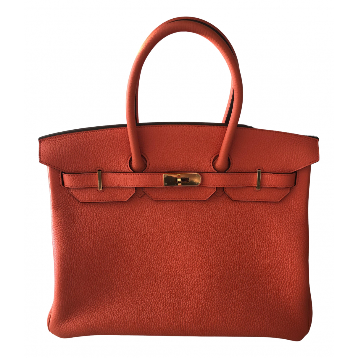 Hermes - Sac a main Birkin 35 pour femme en cuir - orange