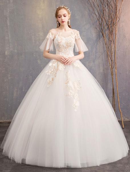 Milanoo Princess Wedding Dresses Tulle Jewel Illusion Neckline Applique Short Sleeve Ball Gown Bridal Dress