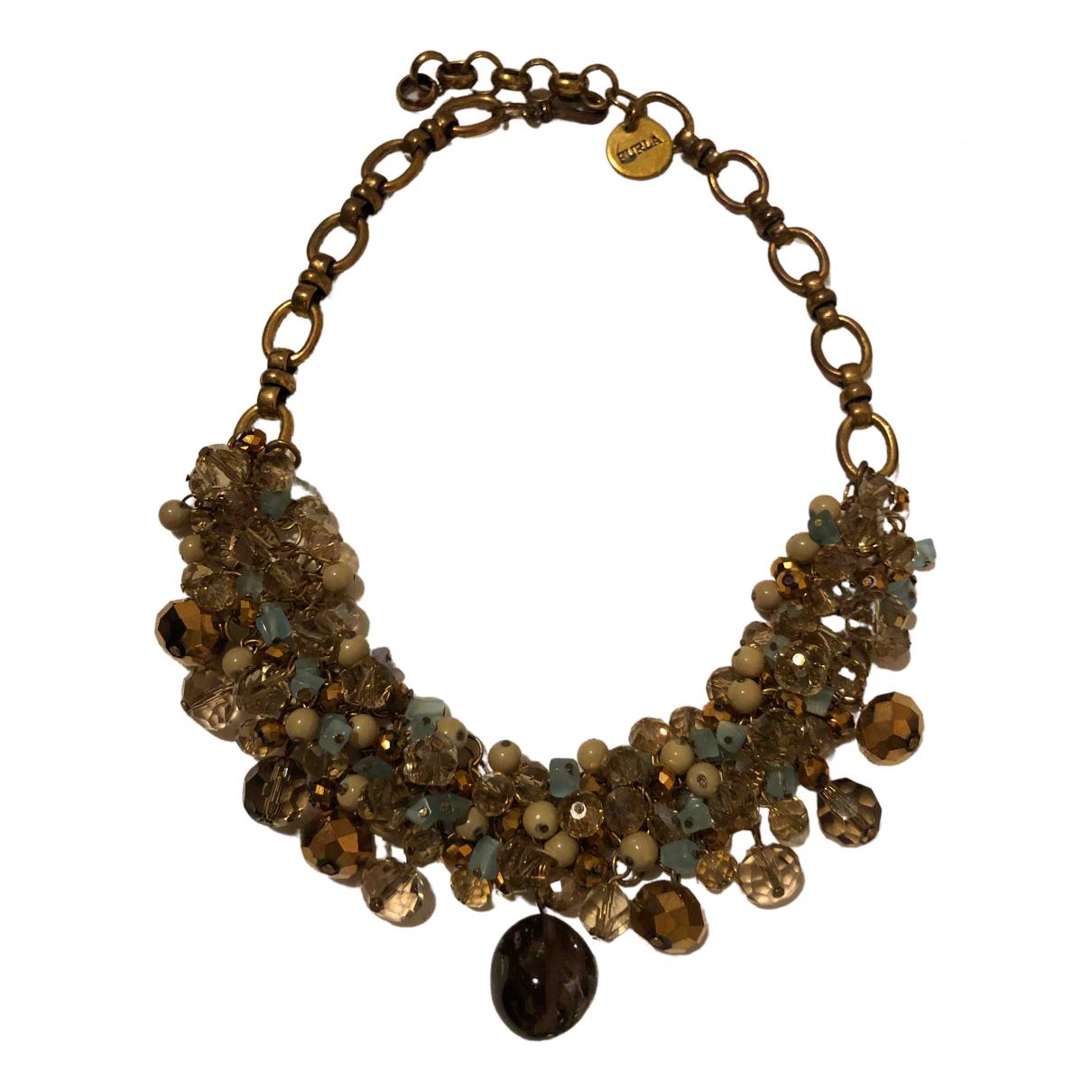 Furla - Collier   pour femme en or et acier - dore